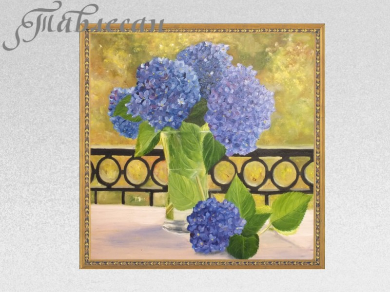 Картина Гортензии на балконе холст масло