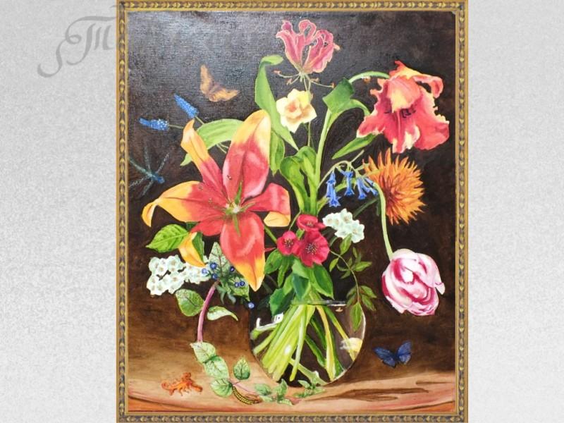 Картина Голландский натюрморт в стеклянной вазе  холст масло