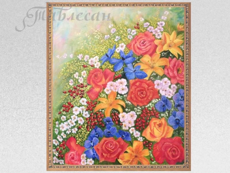 Картина Розы и мимозы холст масло