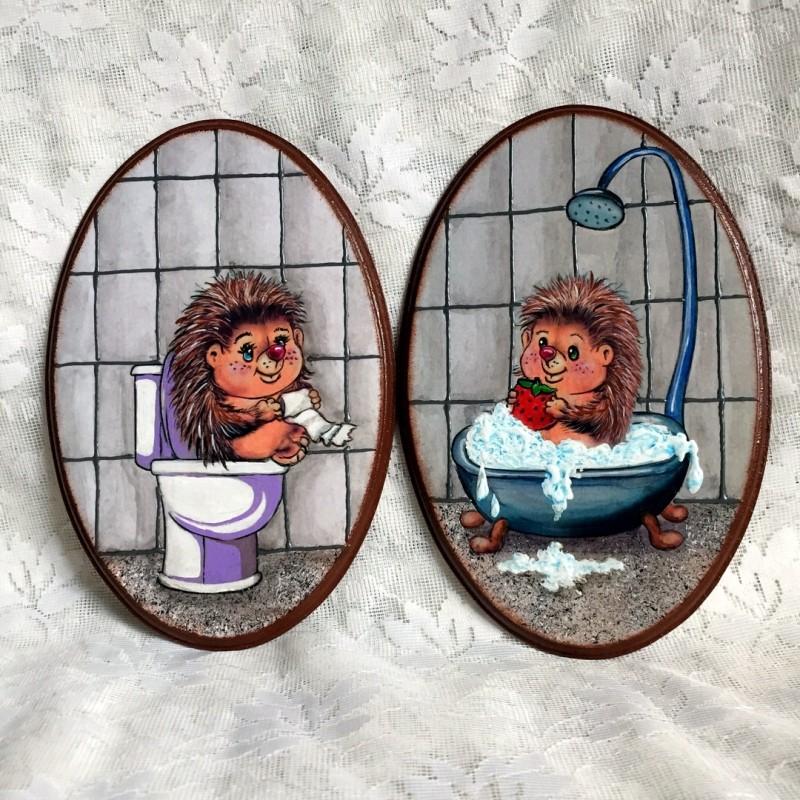 Таблички-бирочки на двери ванной и туалета.20 х 13 см.Декупаж.