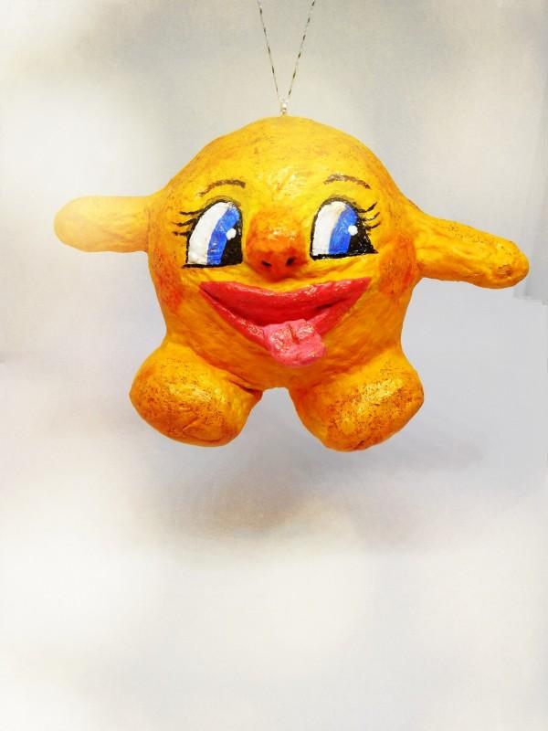 Ватная елочная игрушка Колобок-румяный бок