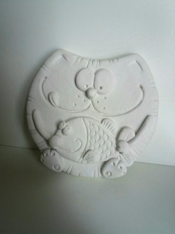 Гипсовое панно-раскраска Кот с рыбой