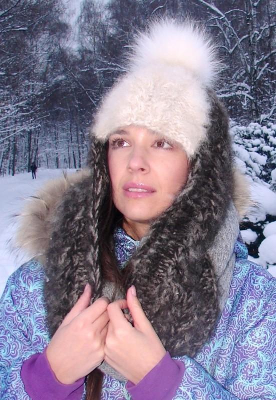 Шапка-шлем  женская зимняя «Клеопатра-2» из собачьей шерсти .