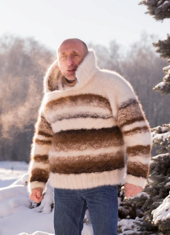 Свитер зимний «Капучино со сливками» из собачьей шерсти .