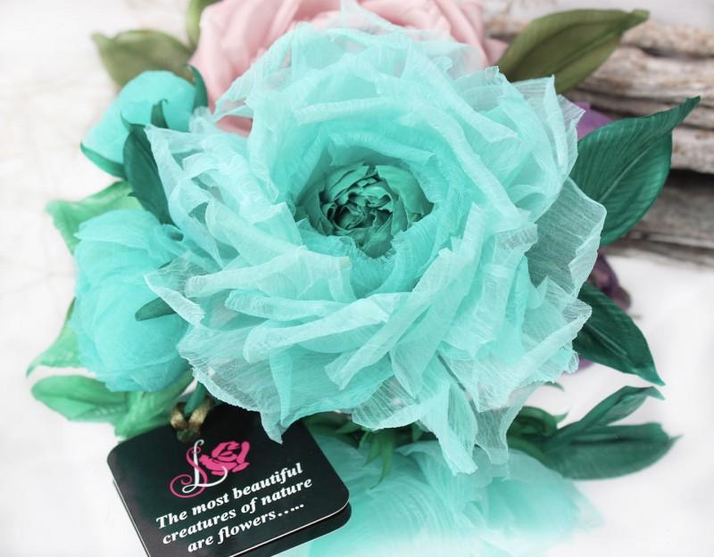 Брошь роза «Весеннее Чудо». Цветы из ткани