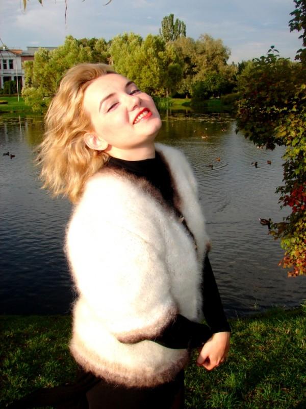 Жакет женский вязаный целебный «Пушистая Аврора» .