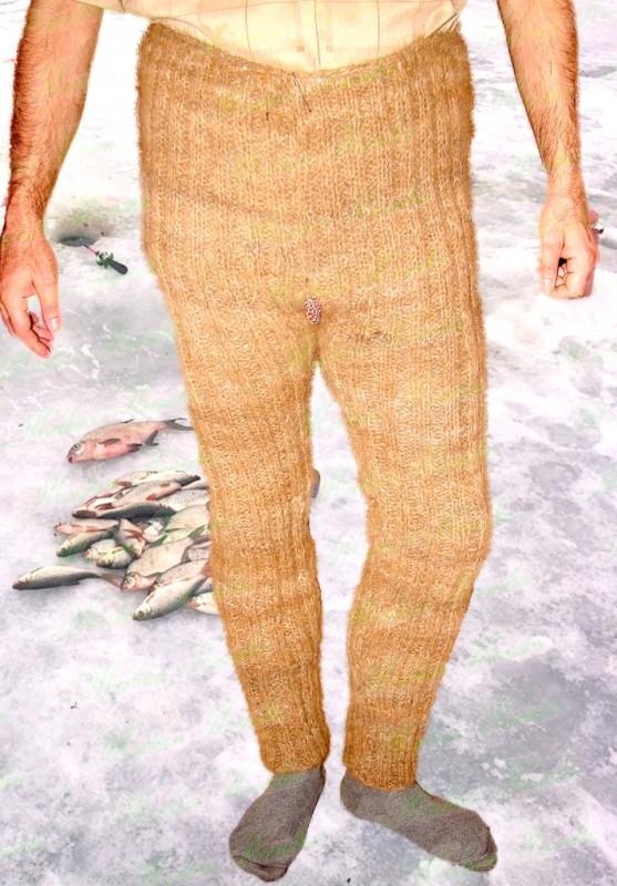 Штаны целебные мужские  ручного вязания из собачьей шерсти.