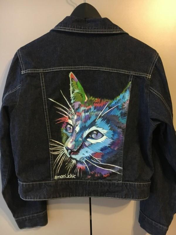 Куртка джинсовая с ручной росписью