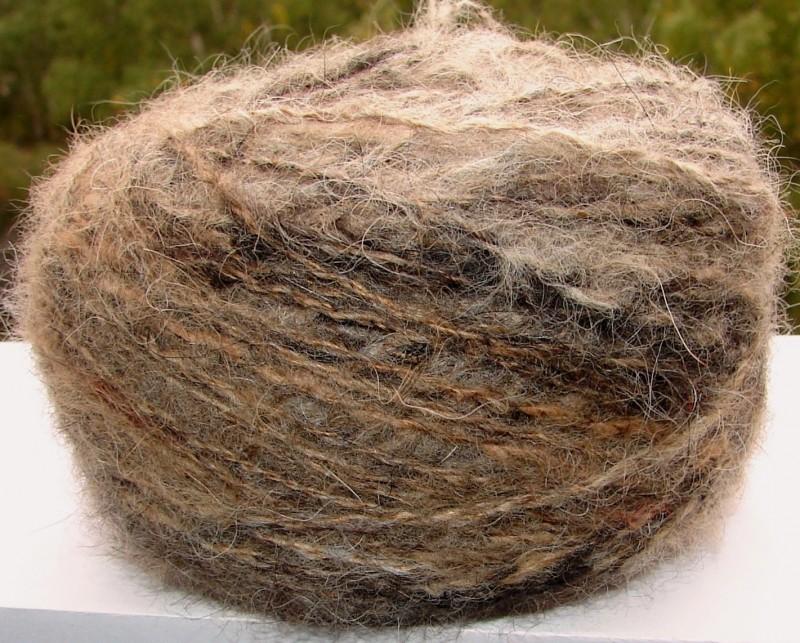 Пряжа меланж «Осень золотая пушистая» 190м 100грамм из собачьей шерсти.