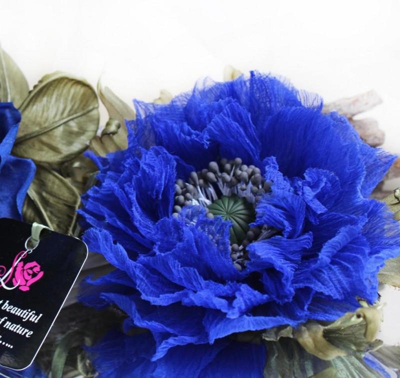 Брошь- заколка «Синий Мак». Цветы из ткани