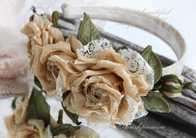 Ободок с шелковыми розами Капучино