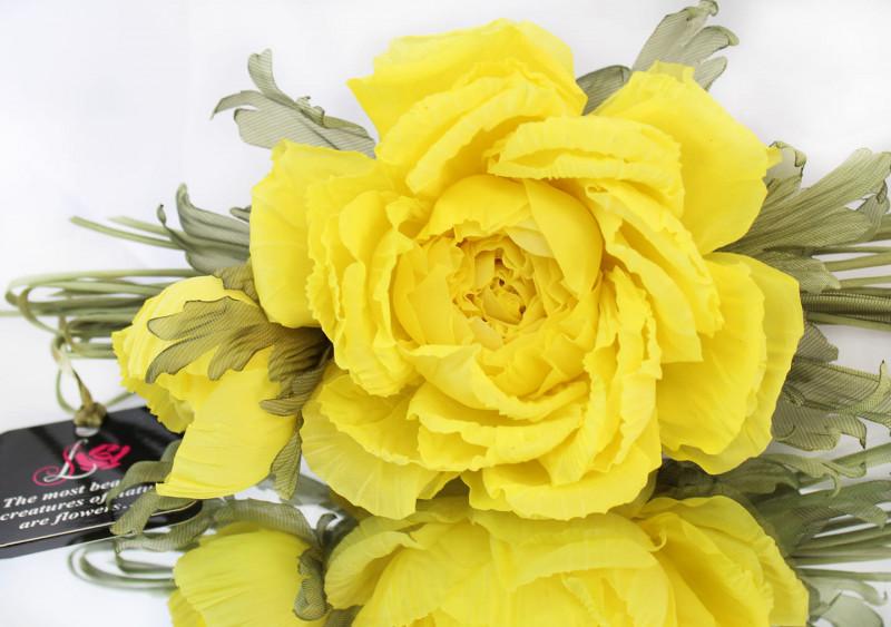 Брошь роза «Солнечная». Цветы из ткани
