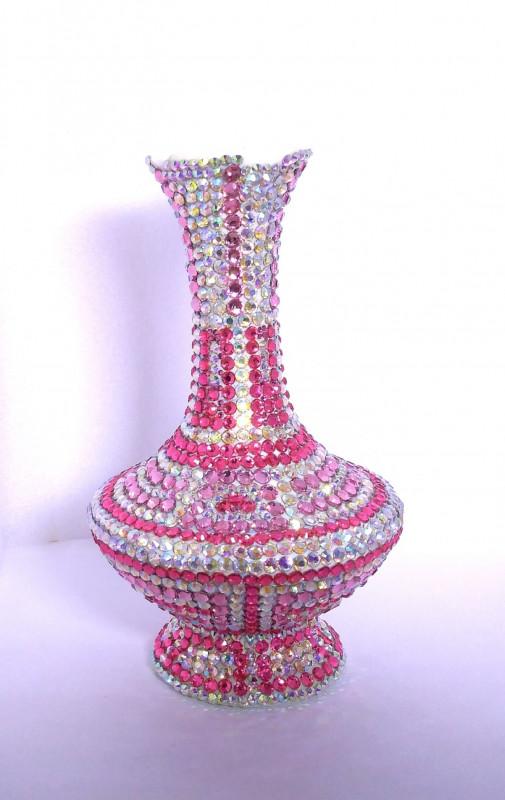 Интерьерная керамическая ваза, инкрустированная стразами
