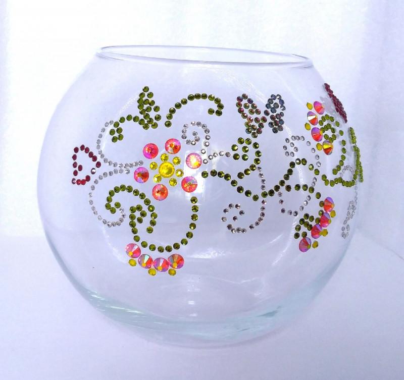 Стеклянная ваза Весна, инкрустированная стразами