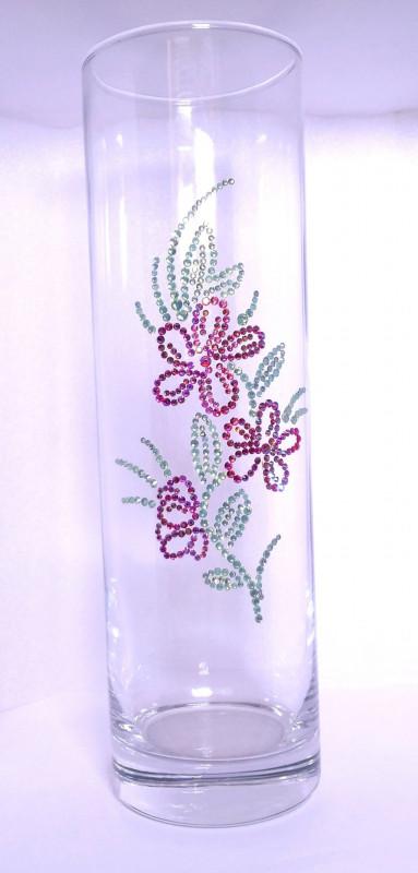Стеклянная ваза для цветов, инкрустированная стразами