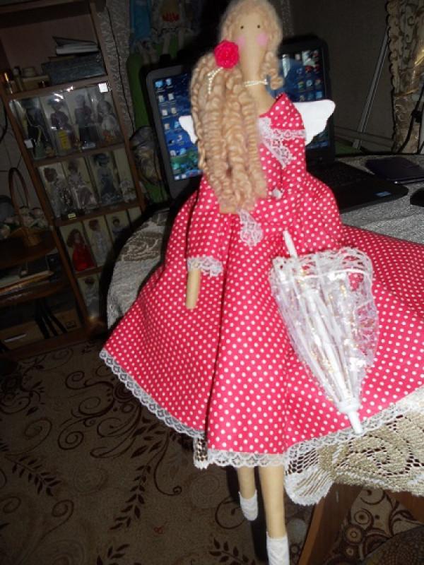 Кукла интерьерная тильда Ангел хорошей погоды в доме Образец