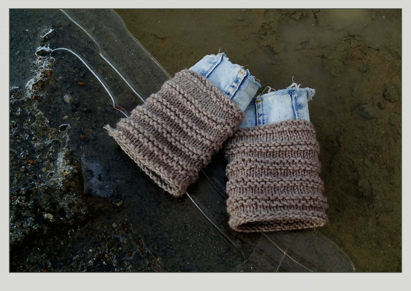 Митенки из джинса, вязанного полотна и футера