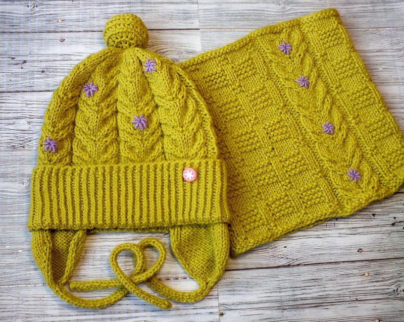 Детский комплект: шапочка с ушками и снуд