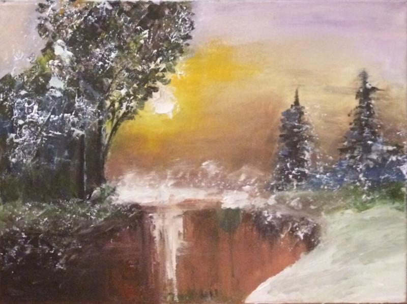 Картина маслом Закат в лесу.Зима