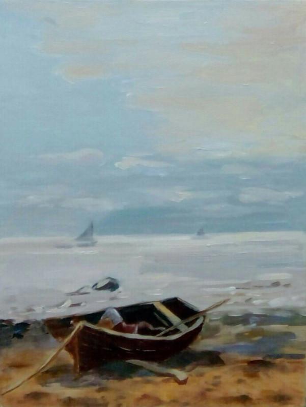 Картина маслом Лодка на берегу