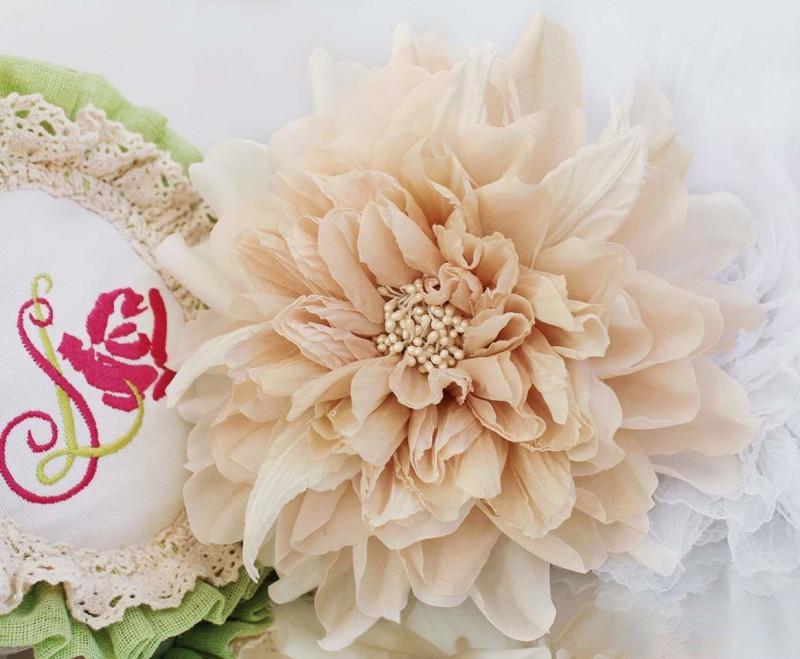 Брошь роза «Фантазийная астра». Цветы из ткани