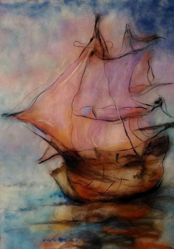 Картина из шерсти Корабль мечты