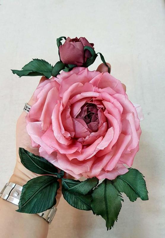 Цветы из ткани роза «Императрица»