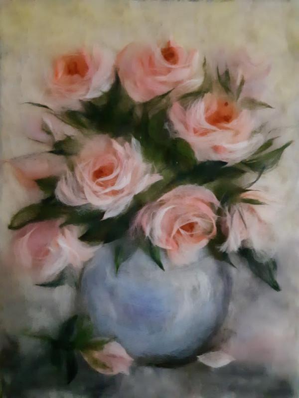 Картина из шерсти Розовые розы