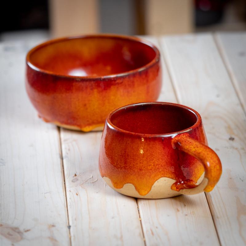 Набор посуды из каменной керамики Красное солнце