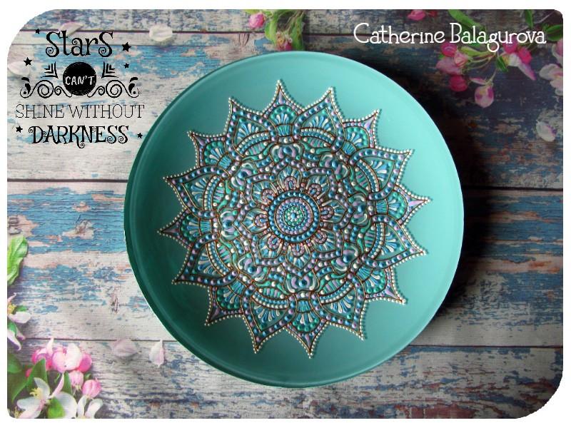 Тарелка стеклянная декоративная Мятный цветок