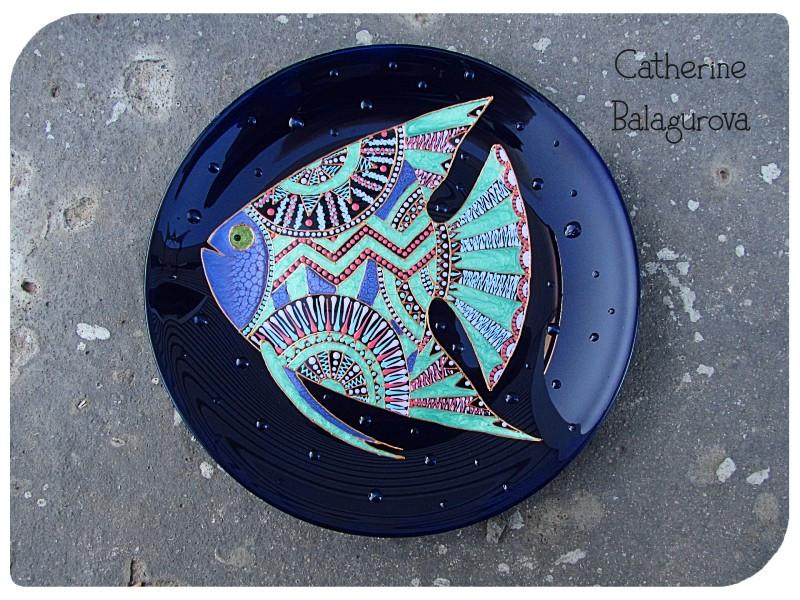 Тарелка стеклянная декоративная Рыба