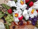 Магнолия и фрукты. Вышивка лентами. (на заказ)