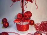 Новогодний топиарий «Красное и серебро»