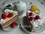 Вязаные кусочки тортиков
