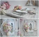 Открытка со свадебным букетом и птичками
