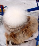 Шапка детская  зимняя «Теплая Белоснежка»  вязанная из собачьего пуха  .Комплект.