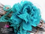 цветок из ткани брошь заколка Пион «Лазурный»