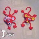 Мини обезьянка, вязаная игрушка новогодний сувенир.
