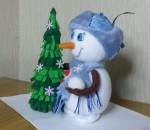 мягкая игрушка Снеговик с елкой