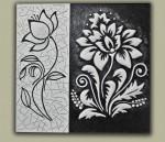 Объемная модульная картина Черно – белые цветы.