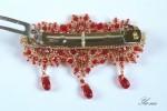 Комплект браслет , серьги и заколка из бисера