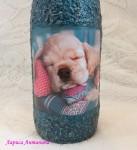 Декоративная бутылка со спящим песиком