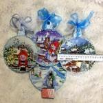 Новогодний медальон-подвеска №1. 16,5 см Декупаж