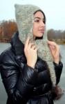 Шапка вязаная «Mia»  дизайнерская с ушками из собачьей шерсти.