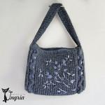 Женская сумка из альпаки. Серая вязаная сумка.